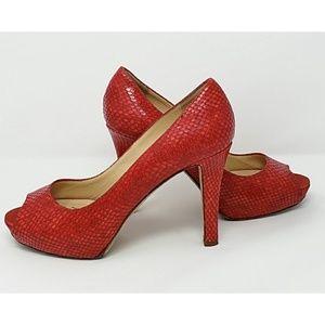 """Kate Spade """"Scarlet"""" snakeskin embossed peep toe"""